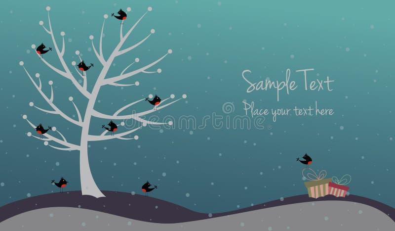Carte de Noël mignonne avec des oiseaux et des présents illustration de vecteur