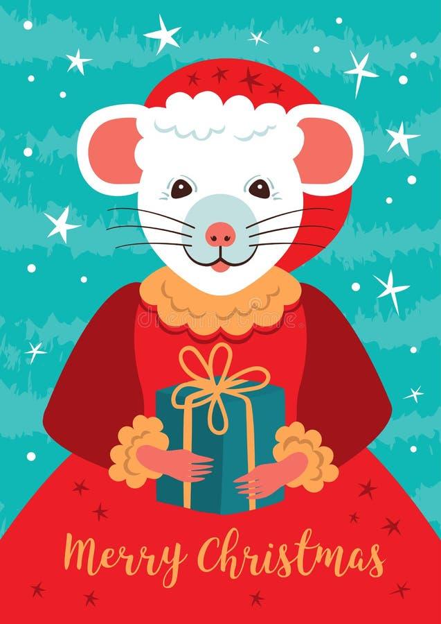 Carte de Noël mignonne de caractère de rat La souris de bande dessinée tient un cadeau Affiche 2020 de bonne année Petit rat féer illustration libre de droits