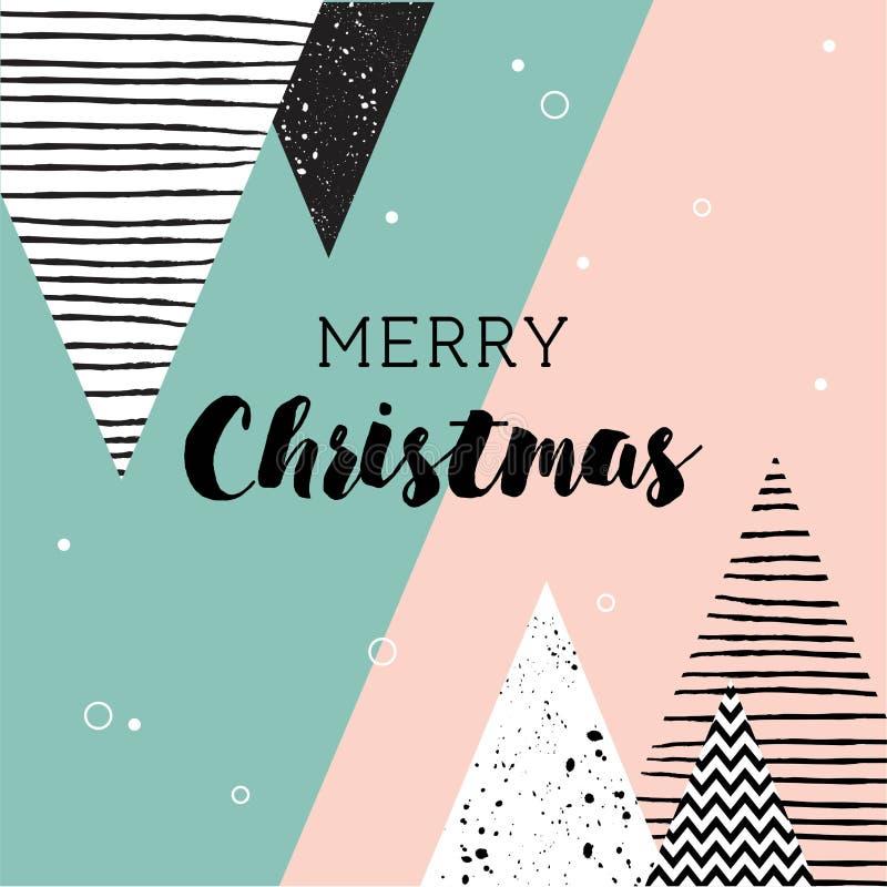 Carte de Noël Modèle scandinave géométrique abstrait de style avec des arbres et des triangles illustration stock