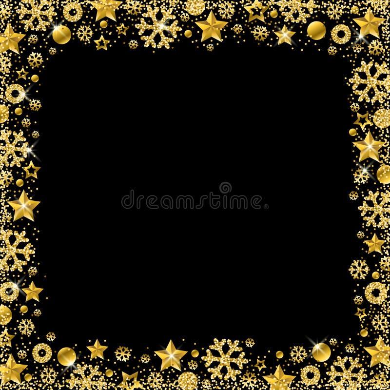Carte de Noël noire avec la frontière du flocon de neige éclatant d'or illustration stock