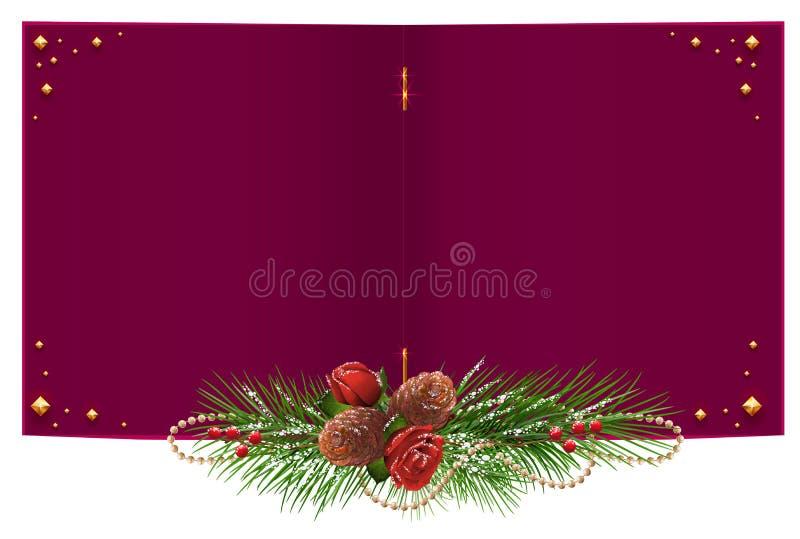 Carte de Noël ouverte de rouge avec le cône de guirlande, rose et de pin de branche de sapin illustration stock