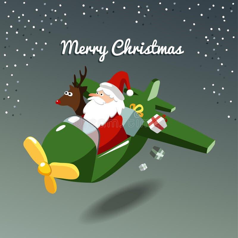 Carte de Noël, père noël et renne Rudolph dans l'avion illustration libre de droits