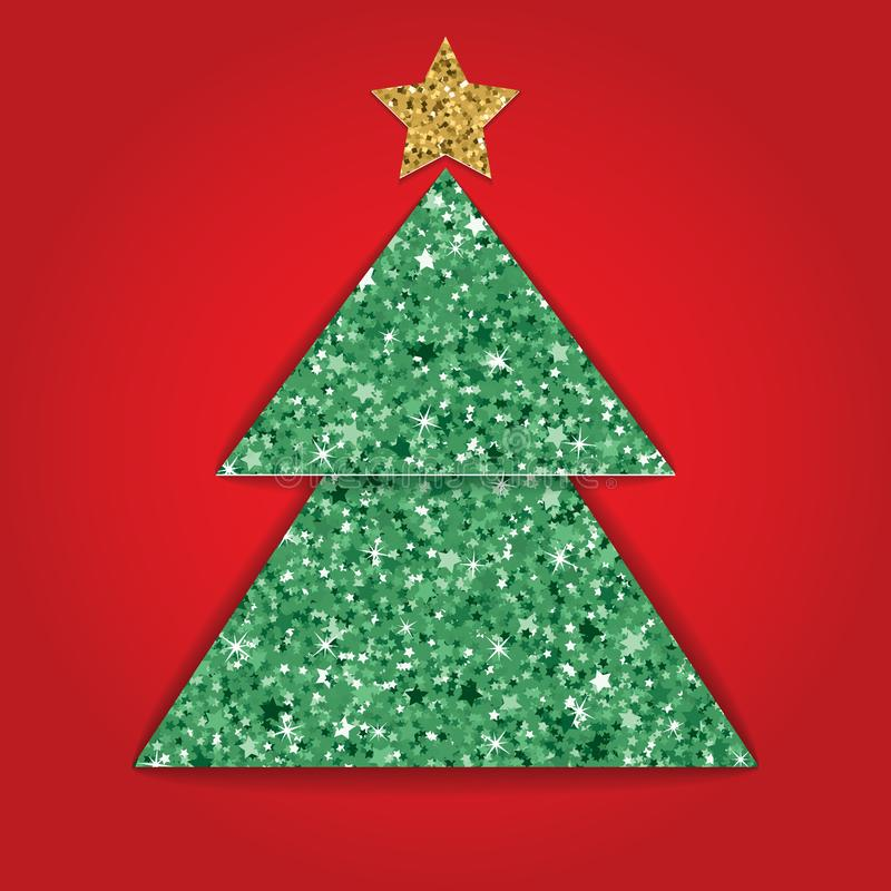 Carte de Noël de papier coupée posée avec l'effet de texture de scintillement Illustration de vecteur illustration de vecteur