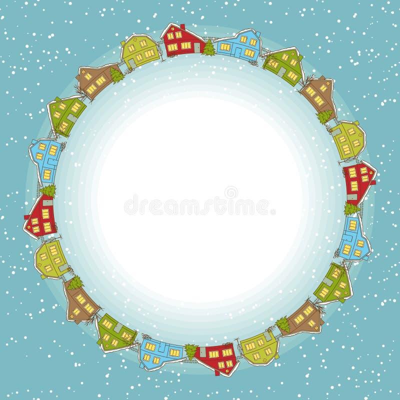 Carte de Noël, petite ville mignonne en hiver illustration de vecteur
