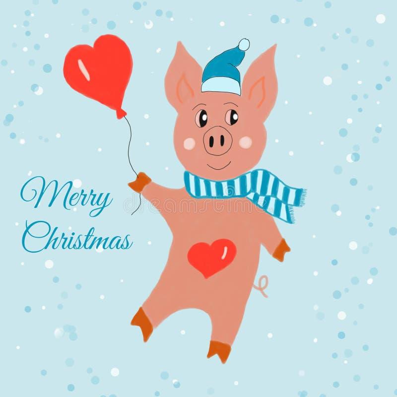 Carte de Noël Porc drôle avec le ballon de coeur sur l'illustration bleue de fond de neige dessinée à la main Peinture de Digital illustration stock