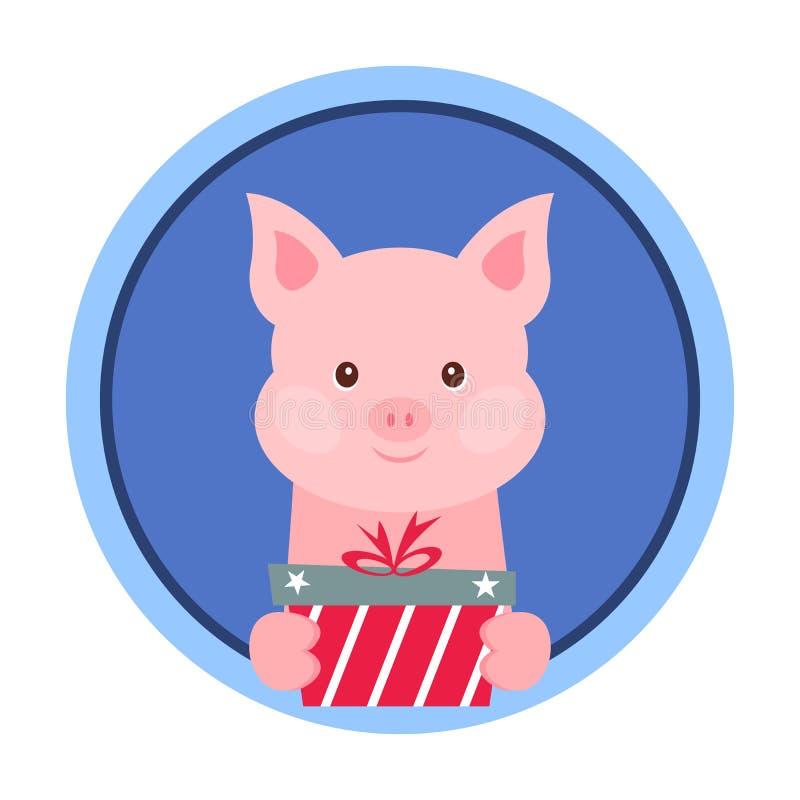 Carte de Noël Portrait de porc rose avec le boîte-cadeau Visage drôle de bande dessinée d'un porc Illustration de vecteur, bonne  illustration libre de droits