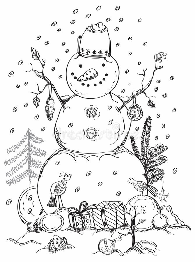 Carte de Noël pour le bonhomme de neige tiré par la main de conception de Noël illustration stock