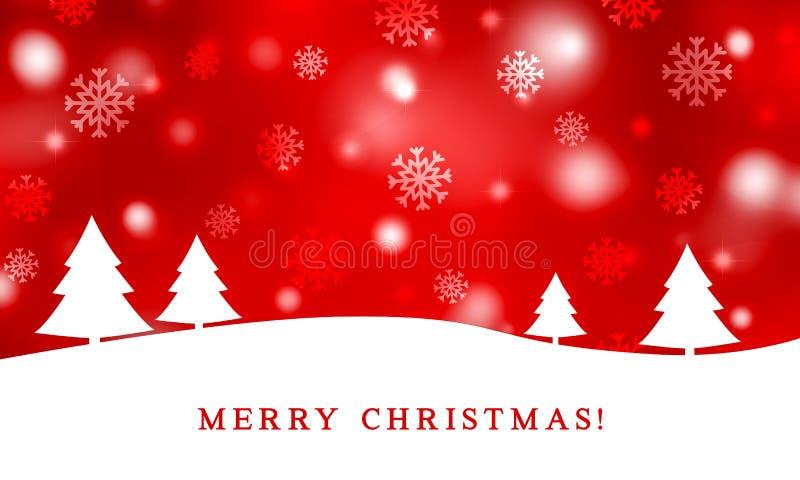 Carte de Noël pour le fond rouge de gradient de la saison i n d'hiver illustration de vecteur
