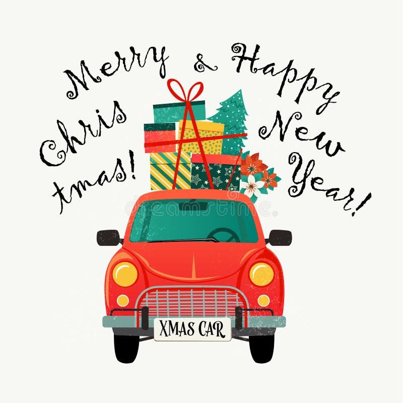 Carte de Noël Rétro voiture rouge avec un arbre et des cadeaux de sapin Illustration de vecteur illustration libre de droits