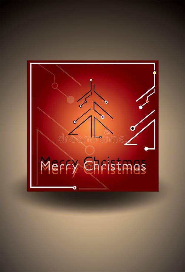 Carte de Noël rouge avec l'arbre de Noël futuriste Illustration de vecteur photos libres de droits