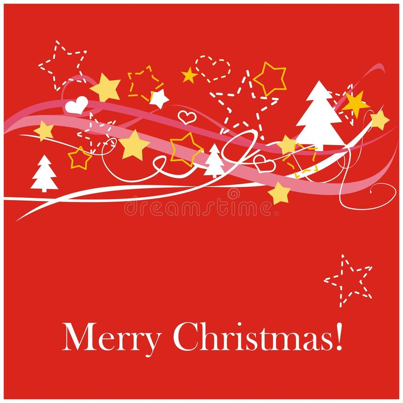 Carte de Noël rouge avec le souhait blanc de Joyeux Noël illustration libre de droits