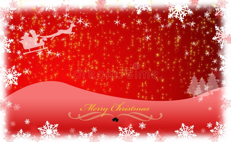 Carte de Noël rouge avec Santa Claus, des flocons de neige et des sapins photographie stock libre de droits