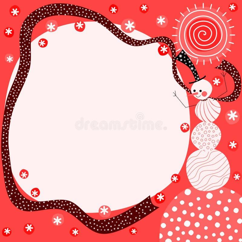 Carte de Noël rouge de bonhomme de neige illustration stock