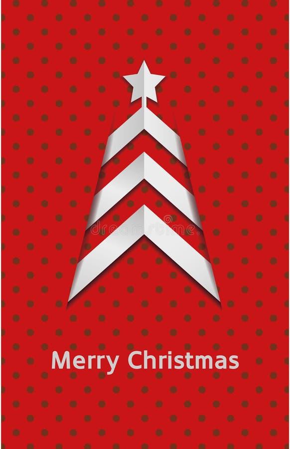 Carte de Noël rouge de vecteur simple – arbre illustration de vecteur