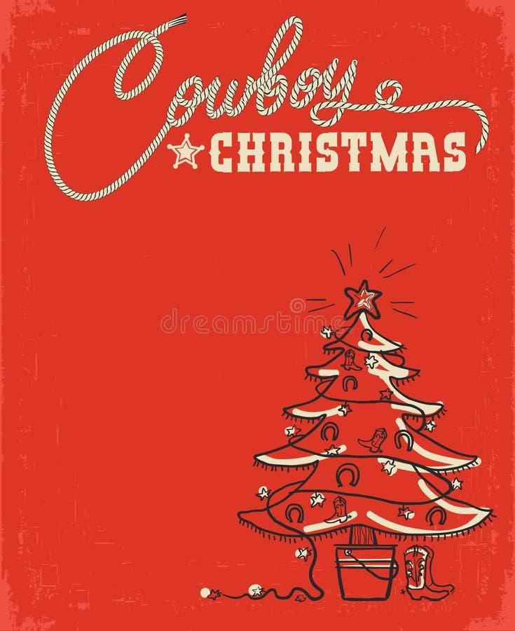 Carte de Noël rouge occidentale avec l'arbre de Noël de cowboy et les décorums illustration stock