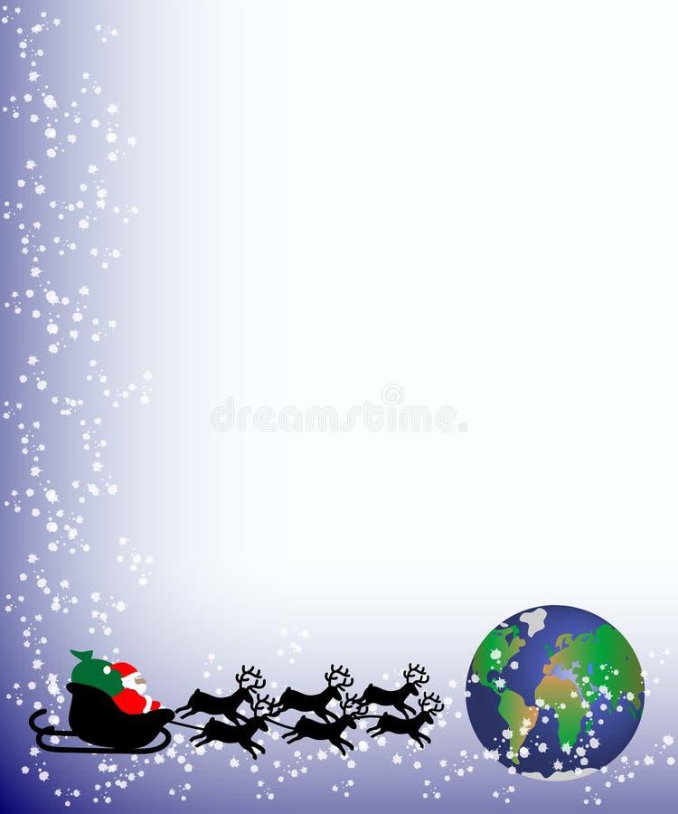 Carte de Noël Santa au monde illustration libre de droits