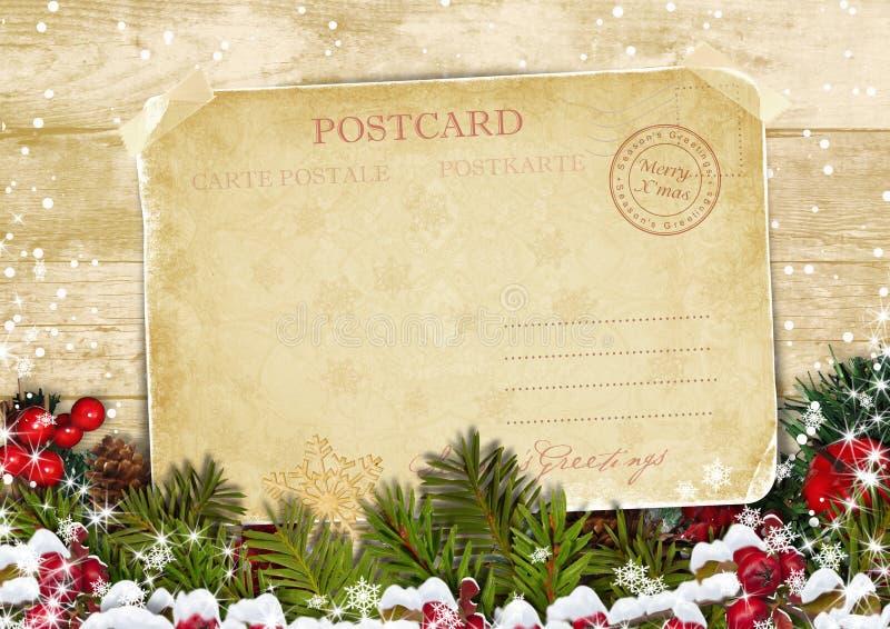 Carte de Noël sur un fond en bois avec des décorations illustration de vecteur