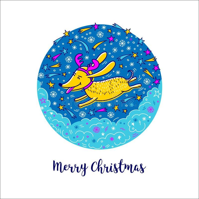 Carte de Noël, symbole de chien de bande dessinée de la nouvelle année 2018 Style de griffonnage, illustration de vecteur Concept illustration stock