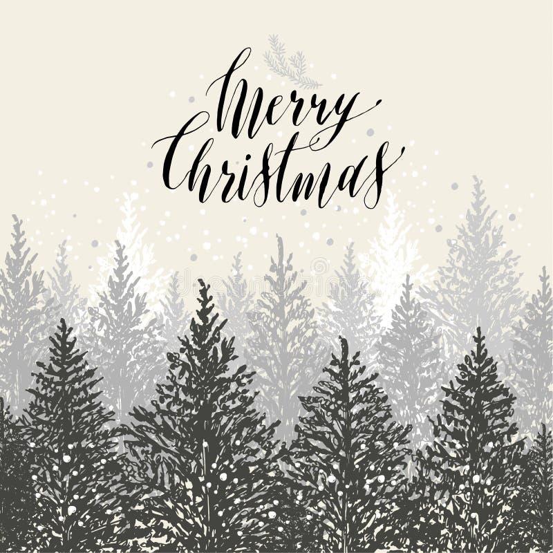 Carte de Noël tirée par la main Arbres de nouvelle année avec la neige Desig de vecteur illustration de vecteur