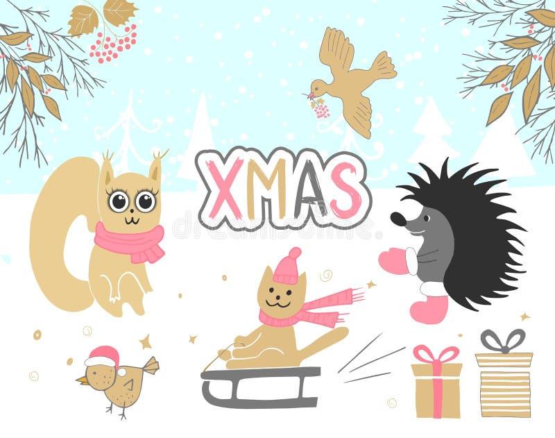 Carte de Noël tirée par la main avec l'écureuil mignon, oiseau, hérisson, cadeaux, chat montant un traîneau et d'autres articles illustration stock