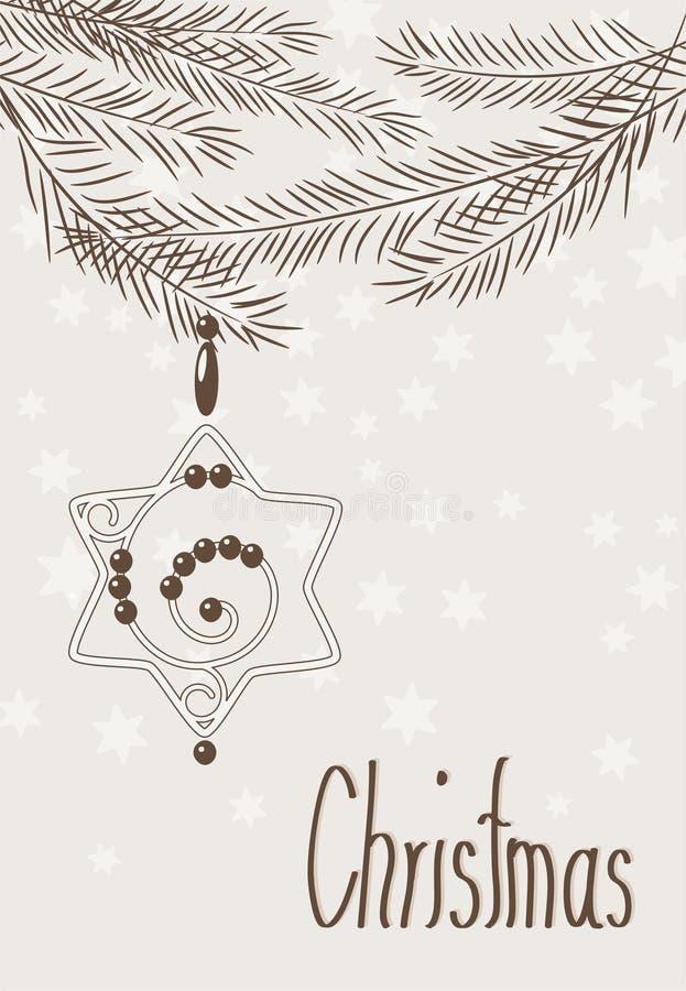 Carte de Noël tirée par la main avec l'étoile et les branchements illustration stock