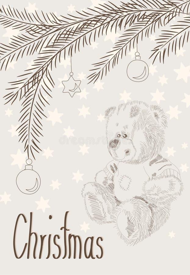Carte de Noël tirée par la main avec l'ours et les branchements illustration stock