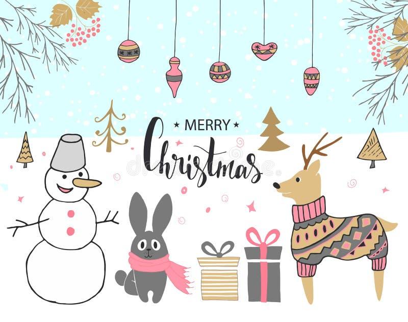 Carte de Noël tirée par la main avec le bonhomme de neige mignon, le lapin, les cerfs communs, les cadeaux et d'autres articles illustration libre de droits