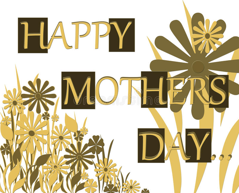 Carte de note heureuse de salutation de jour de mères illustration libre de droits
