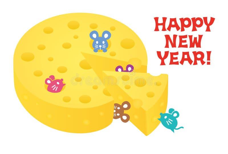 Carte de nouvelle année avec la souris et le fromage illustration libre de droits
