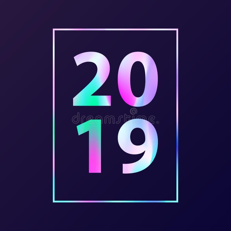 Carte de nouvelle année avec le texte olographe 2019 illustration libre de droits