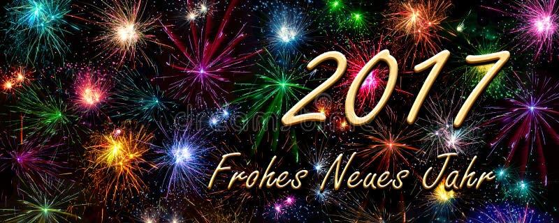 Carte de nouvelle année Frohes 2017 Neues Jahr (bonne année) images stock