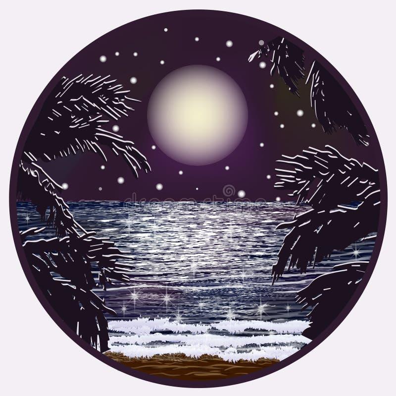 Carte de nuit de mer d'été, vecteur illustration libre de droits