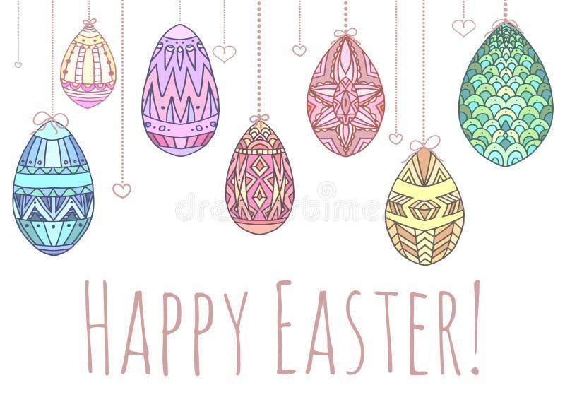Carte de Pâques avec accrocher les oeufs colorés de griffonnage illustration libre de droits