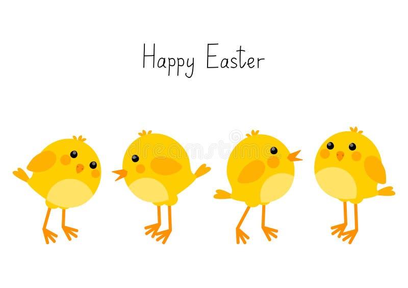 Carte de Pâques avec de petits poulets illustration stock