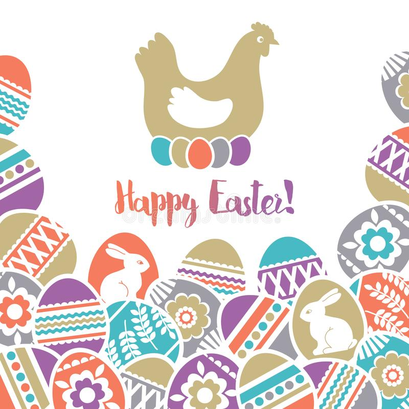 Carte de Pâques avec le cadre des oeufs de pâques de couleur décorés des fleurs, des feuilles et des lapins au-dessus du fond bla illustration stock