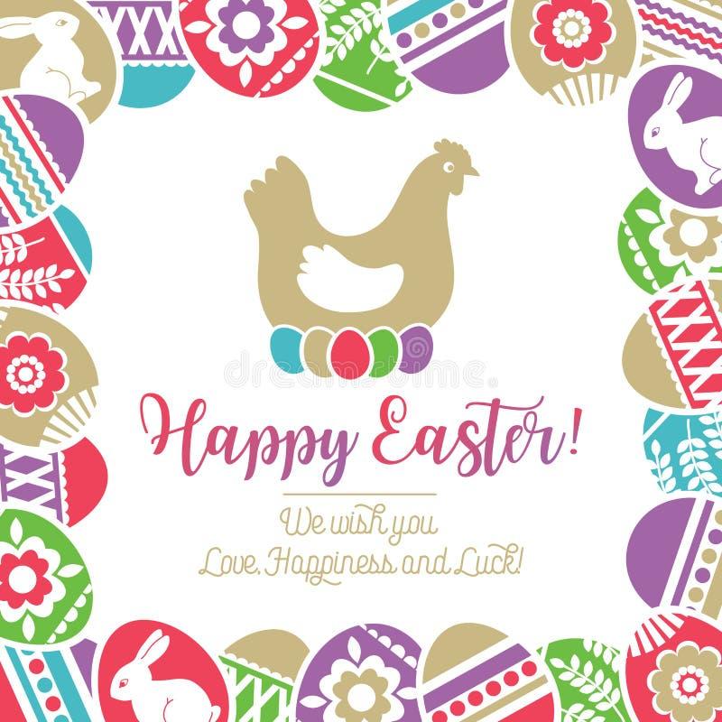 Carte de Pâques avec le cadre des oeufs de pâques de couleur décorés des fleurs, des feuilles et des lapins au-dessus du fond bla illustration de vecteur