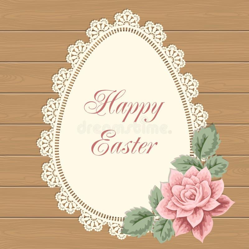 Carte de Pâques avec le napperon de dentelle illustration stock
