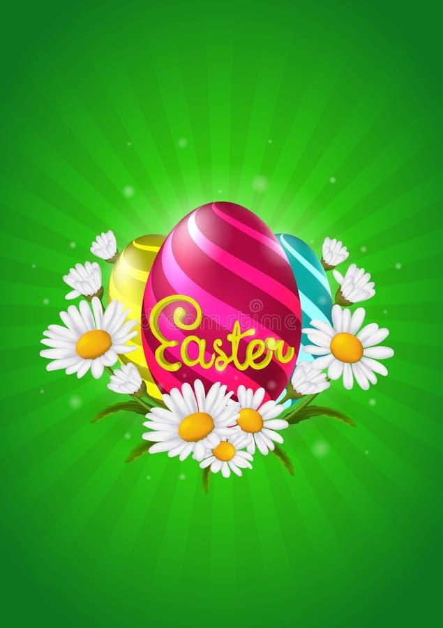 Carte de Pâques avec les oeufs et les fleurs colorés de camomille illustration de vecteur