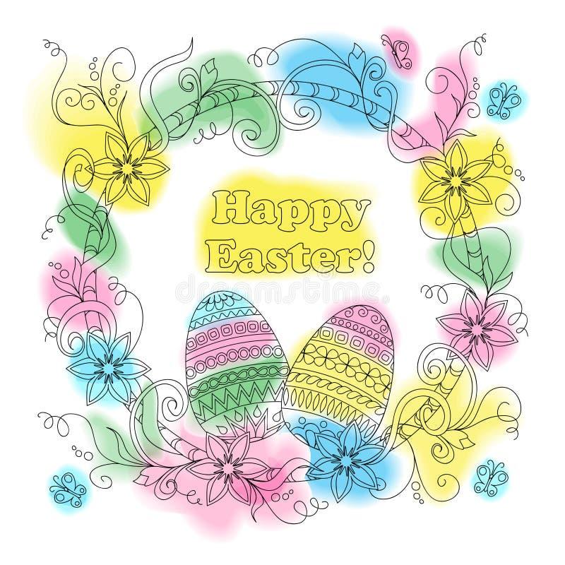 Carte de Pâques colorée avec les oeufs modelés, le cadre floral et la butte illustration de vecteur
