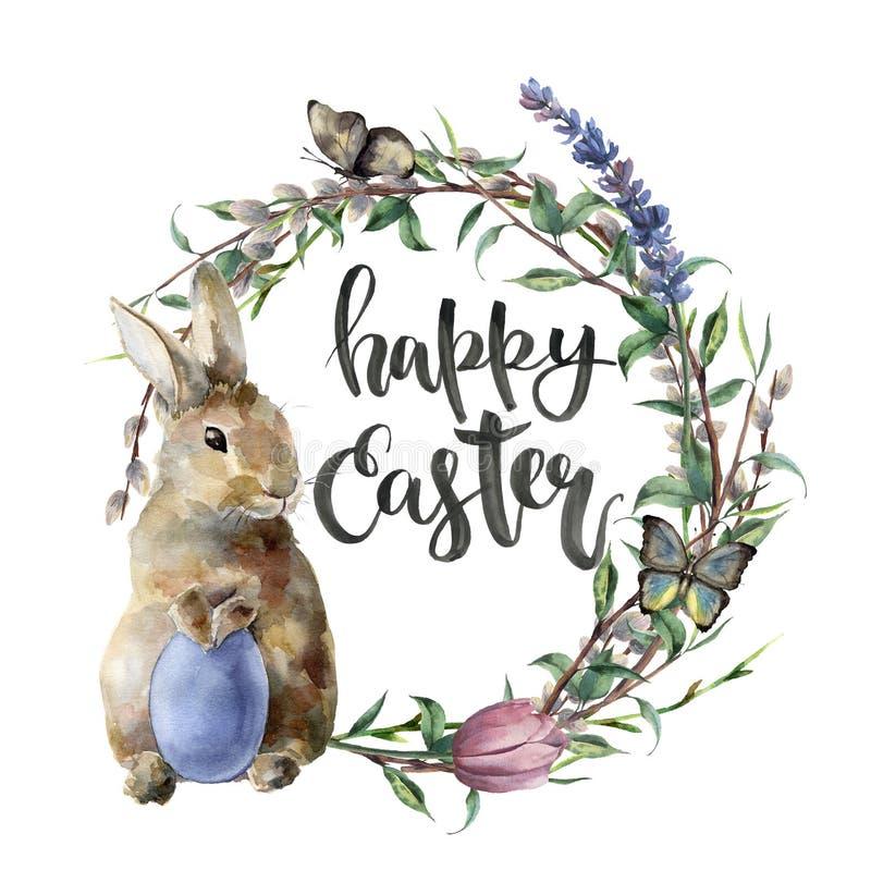 Carte de Pâques d'aquarelle avec le lapin, le papillon et le lettrage Frontière peinte à la main avec l'oeuf, lavande, saule, tul illustration de vecteur