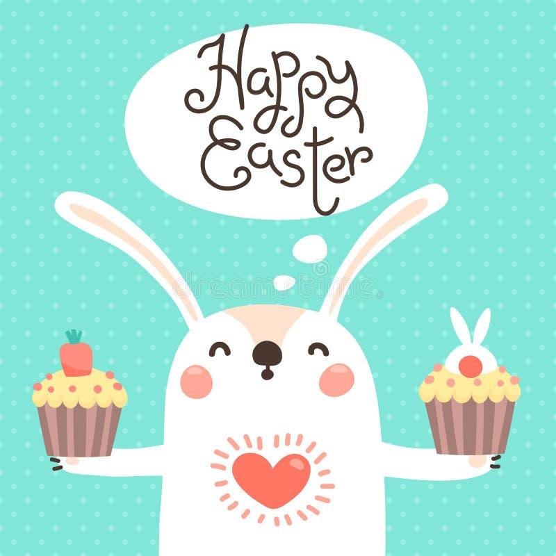 Carte de Pâques heureuse avec le lapin mignon Lapin blanc avec le petit gâteau de Pâques Illustration de vecteur illustration stock