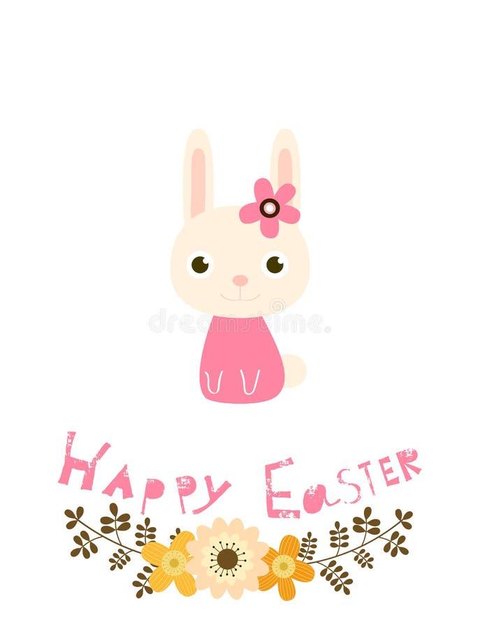 Carte de Pâques heureuse avec les fleurs, le lapin et le texte illustration stock