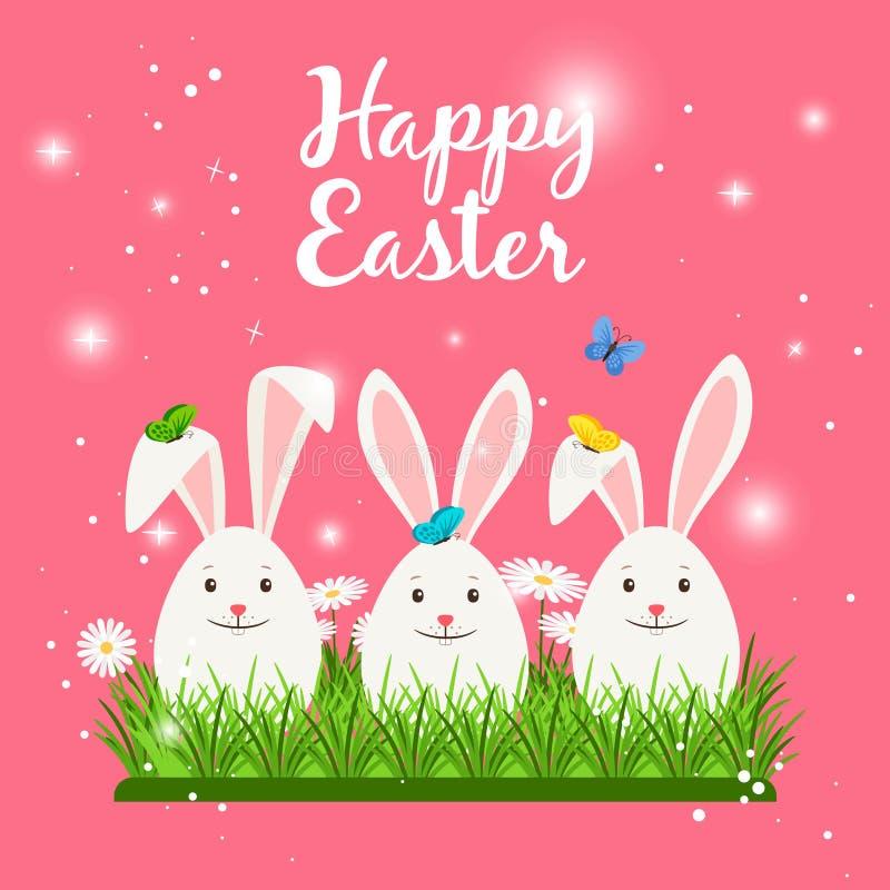 Carte de Pâques heureuse avec les lapins blancs illustration libre de droits