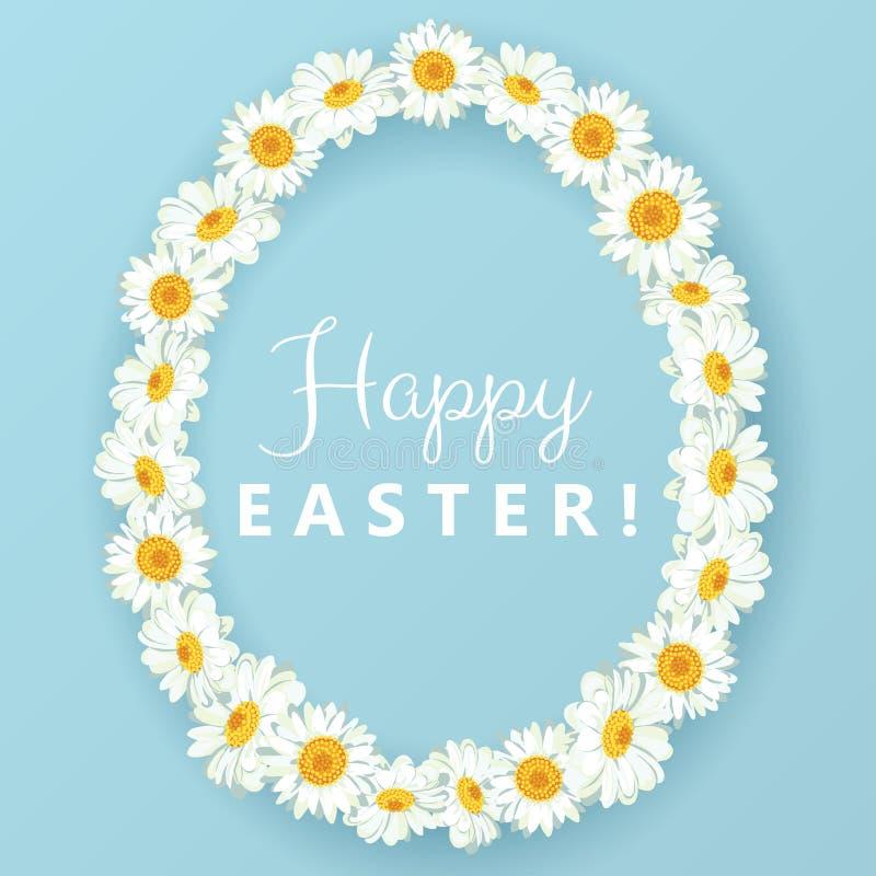Carte de Pâques heureuse Cadre de forme d'oeufs de camomille sur le fond bleu illustration libre de droits