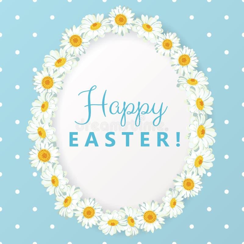 Carte de Pâques heureuse Cadre de forme d'oeufs de camomille sur le fond bleu de point de polka illustration stock