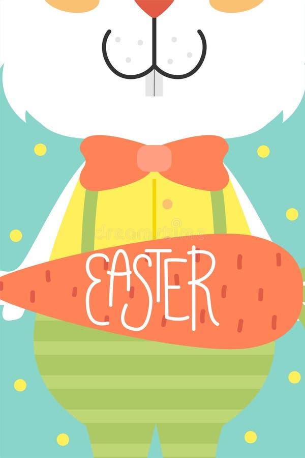 Carte de Pâques mignonne de vecteur Oeufs de pâques, vacances de ressort Carte de voeux avec un lapin illustration libre de droits
