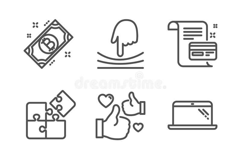 Carte de paiement, ensemble d'icônes d'élastique et de Bitcoin Signes de puzzle, de goût et d'ordinateur portable États d'accord, illustration libre de droits