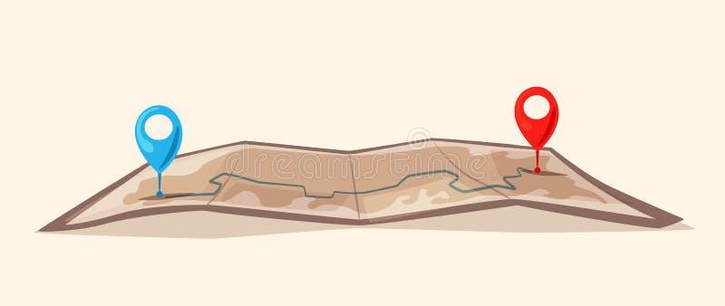 Carte de papier avec des goupilles Illustration de dessin animé de vecteur illustration de vecteur