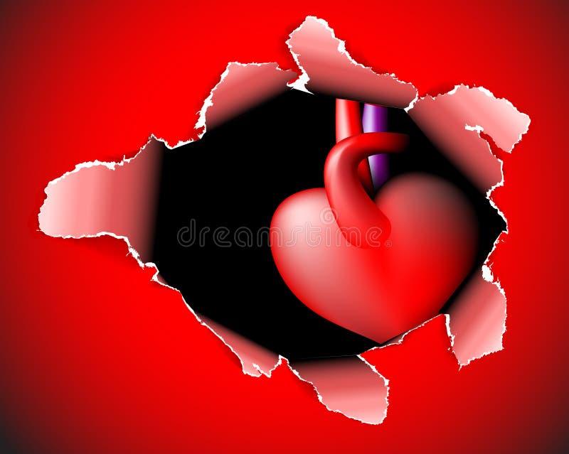 Carte de papier avec le trou profond et le coeur illustration libre de droits