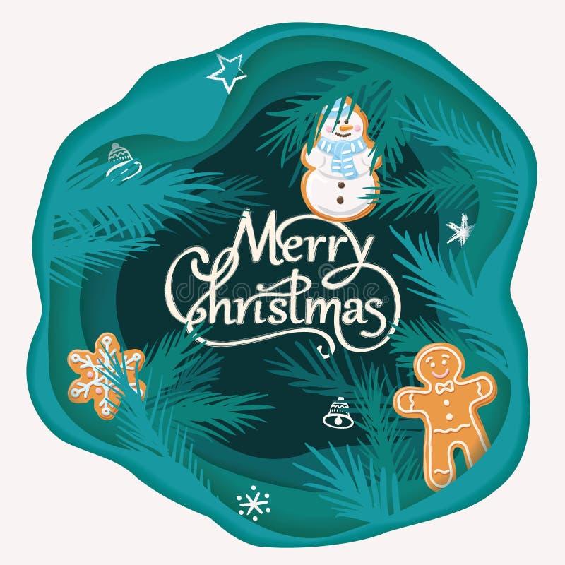 Carte de papier coupée posée de Joyeux Noël avec les branches d'arbre et le pain d'épice Illustration de vecteur illustration de vecteur